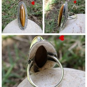 925 Silver Ring Tiger Eye Brown Stone Attractive